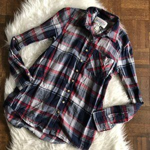 Girl Krazy XS Button Front Long Sleeve Plaid Shirt